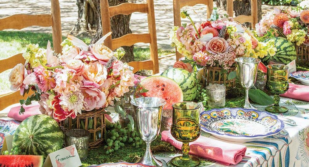 outdoor table setting at Frances Schultz home in home in California's Santa Ynez Valley