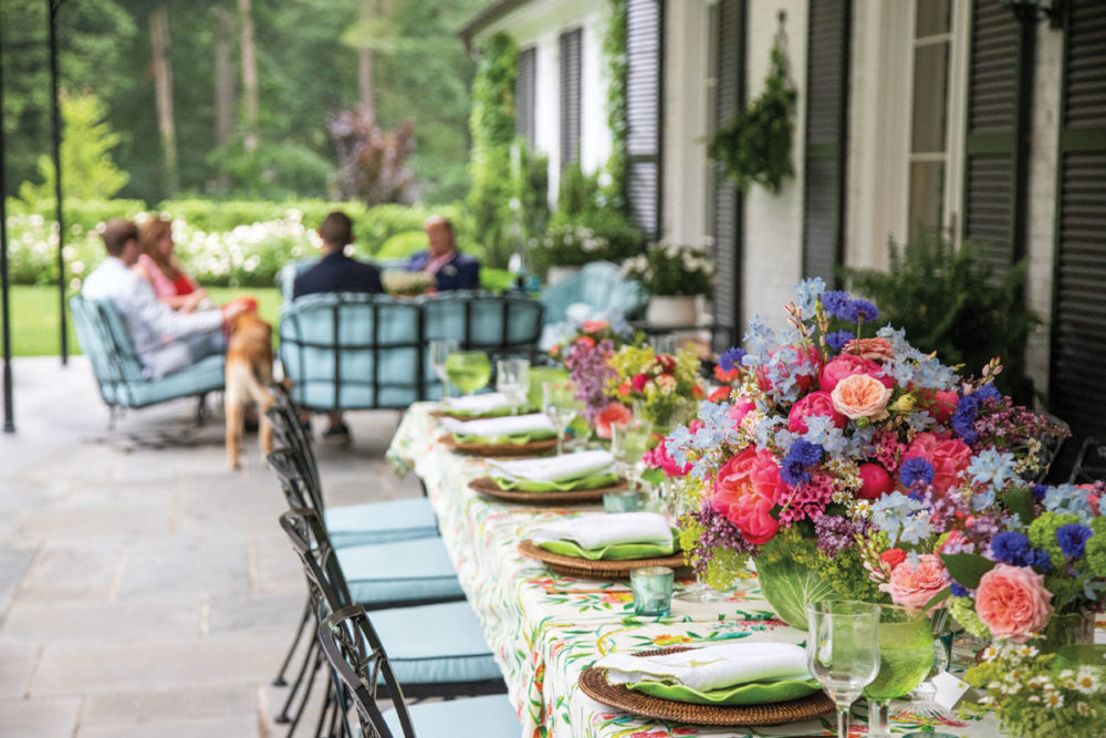 alfresco table setting on a covered patio