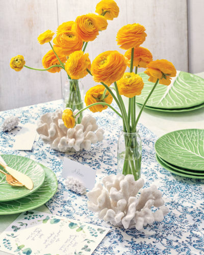 Social Studies party kit, styled with vases of yellow ranunculus and white coral