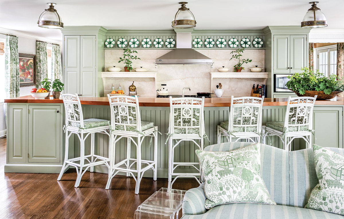 muted green kitchen designed by James Farmer