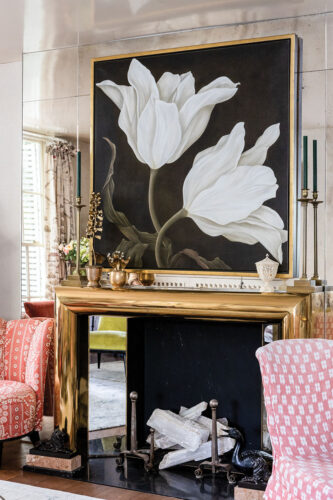 floral painting, fireplace surround