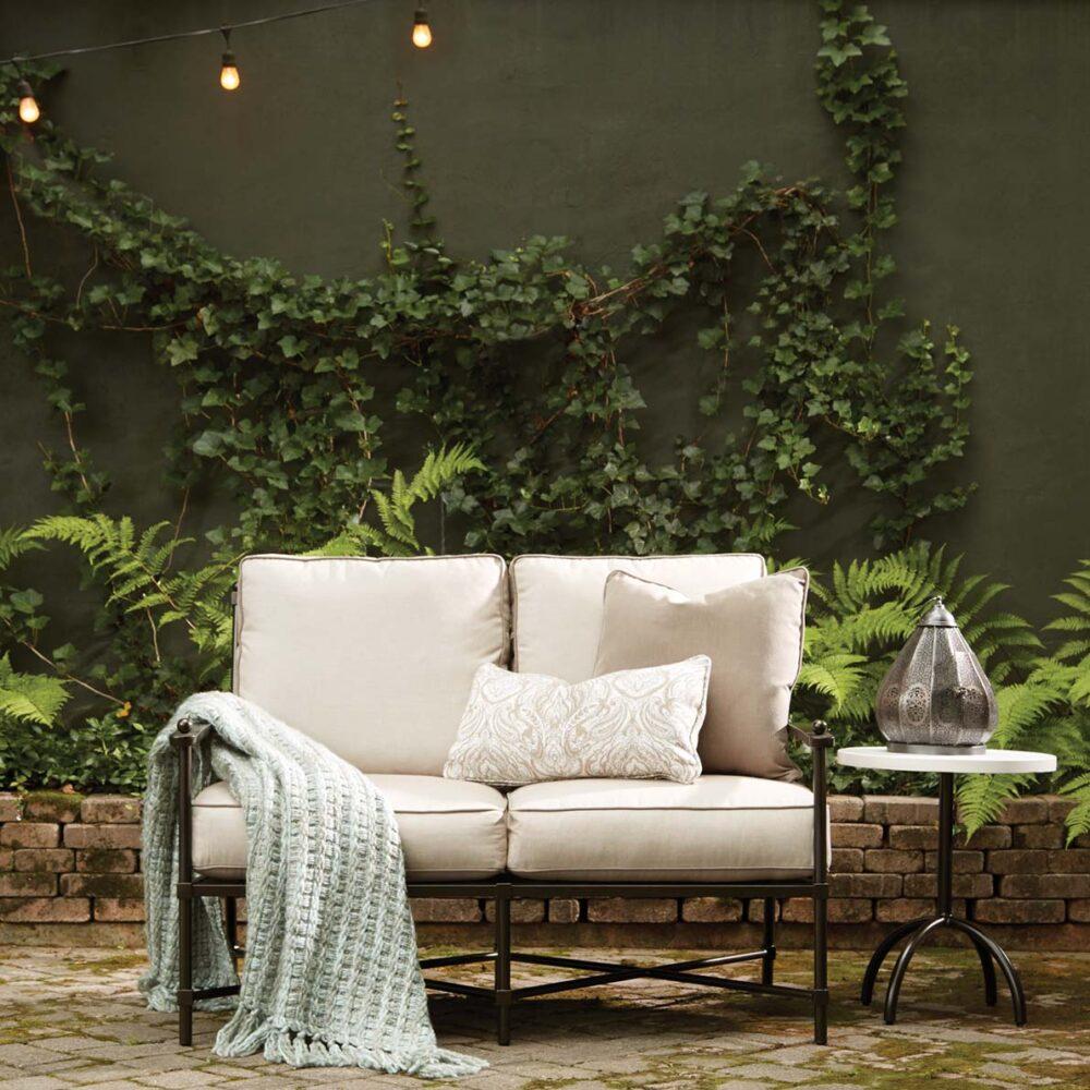 Outdoor furniture Birmingham AL, string of outdoor lights, woven through, lantern