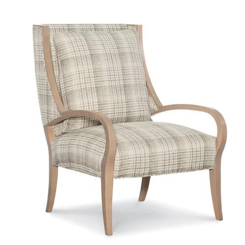 menswear inspired chair in a neutral plaid