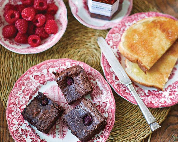 Chocolate Brownies with Fresh Raspberries from An Entertaining Story by India Hicks