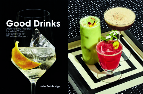 the book cover features a fancy cocktail silhouetted on a black background; the photo on the right features three fancy, colorful nonalcoholic cocktails on an elegant modern tray