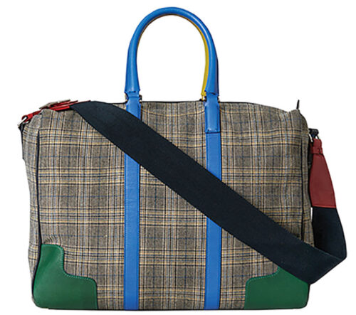 menswear inspired plaid weekend bag