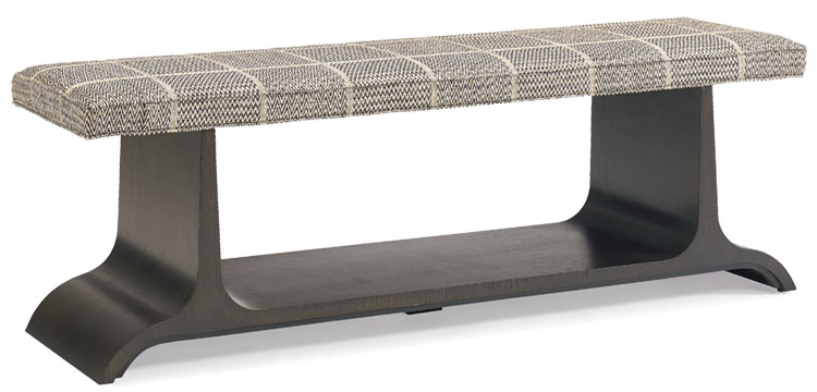 bench upholstered in a menswear-inspired plaid