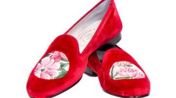 Peonies loafers in red velvet by John Derian for Stubbs & Wootton