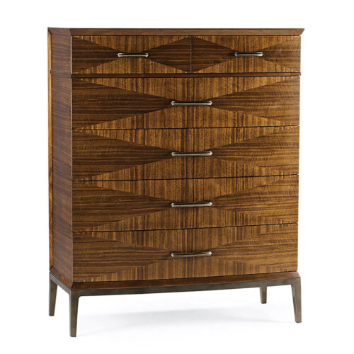 sleek wood dresser with geometric pattern inlaid on the fronts