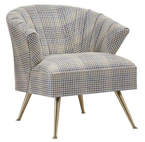 chair with a curved back and metal leggs, upholstered in neutral plaid