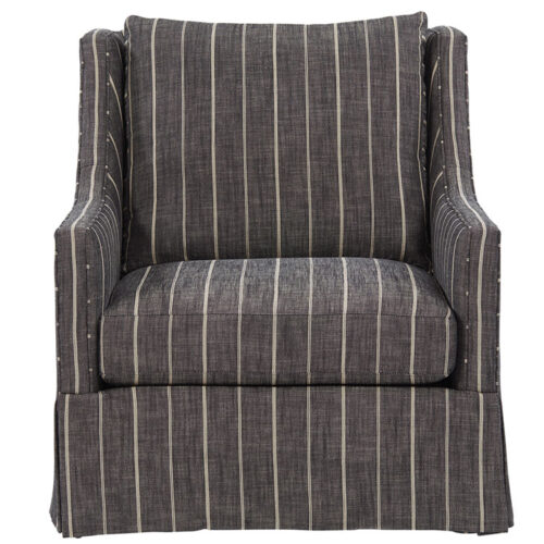 menswear-inspired pinstripe gray upholstery on a wing chair