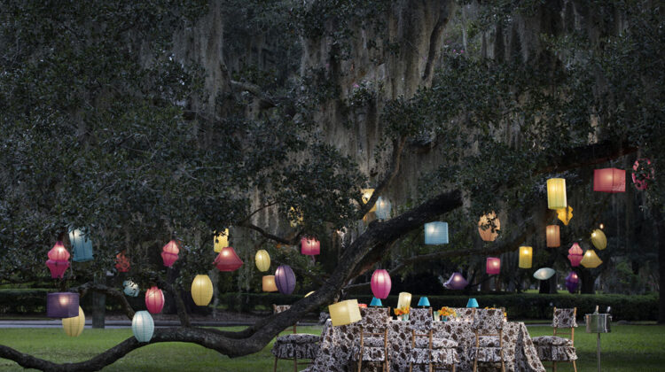 table set under a large old oak covered in Spanish moss. Colorful paper lanterns hanging in the tree set the scene aglow