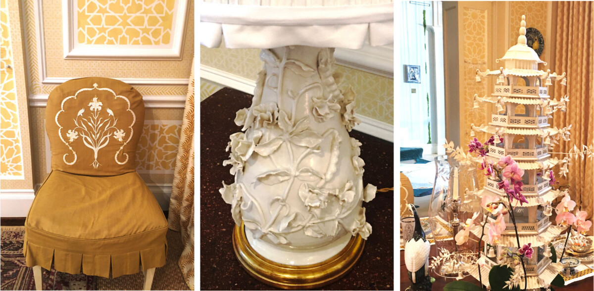 closeups of embroidery on chair slipcover, raised botanical design on porcelain lamp base, and pagoda-shaped tulipiere holding orchid stems in the center of the table