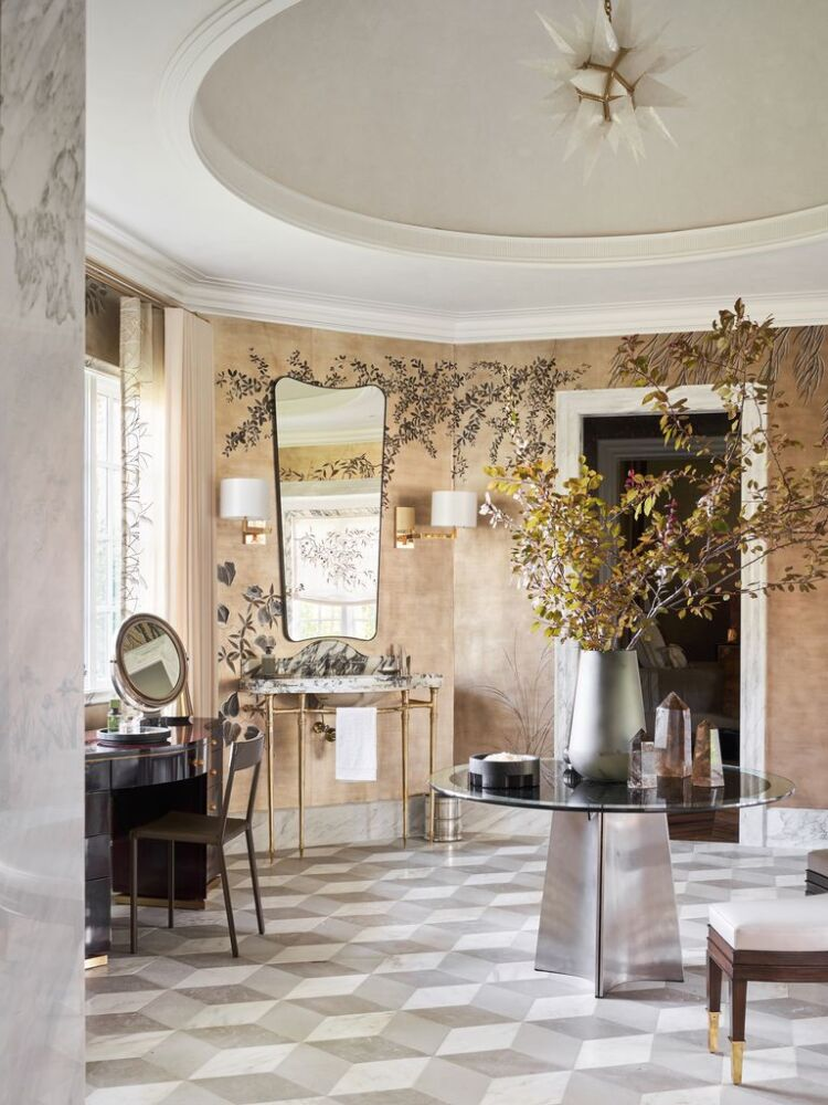 vanity area of a large bathroom with a circular tray ceiling and tile laid out in a geometric pattern, designed by 3. Doniphan Moore Interiors for the Kips Bay Dallas Showhouse 2020