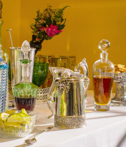 assorted barware from Replacements Ltd for a holiday bar set up