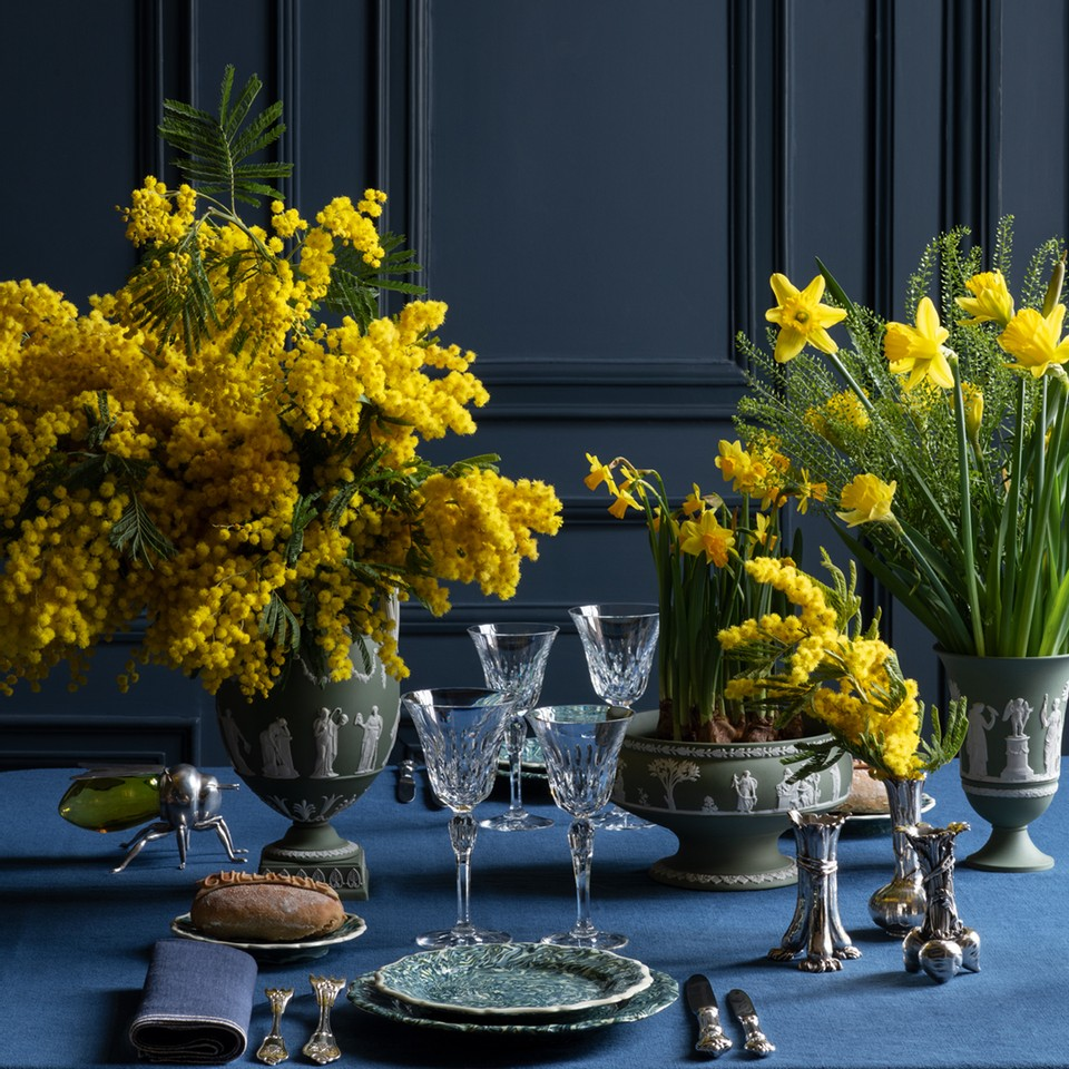 yellow flower arrangements, acacia, daffodils