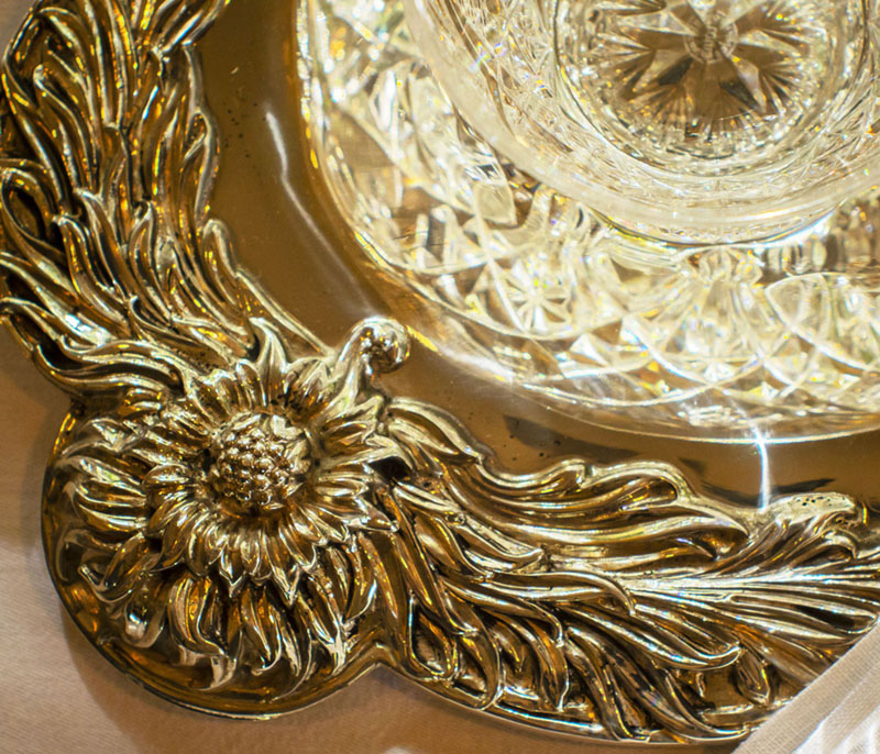 floral detail of the Chrysanthemum platter by Tiffany & Co from Replacements, Ltd