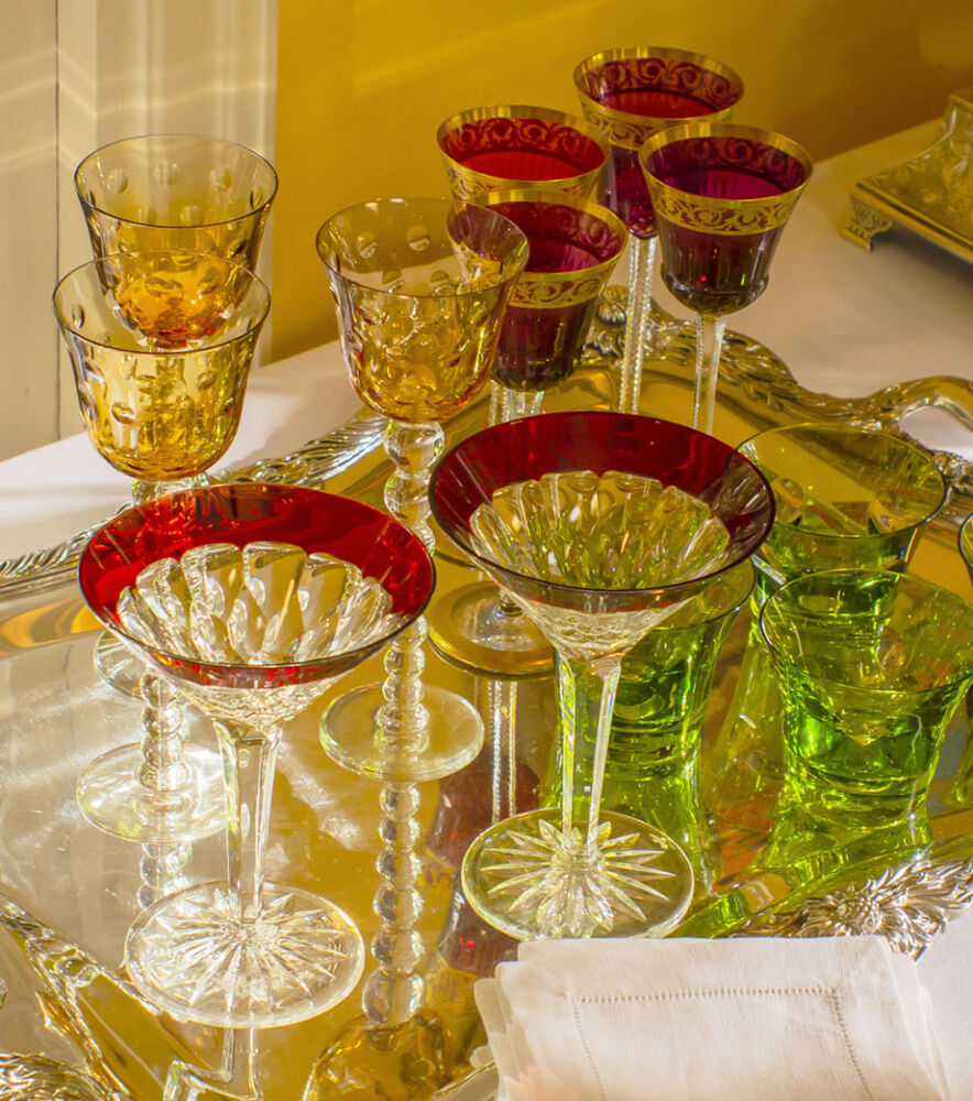 assorted colored glassware from Replacements, Ltd