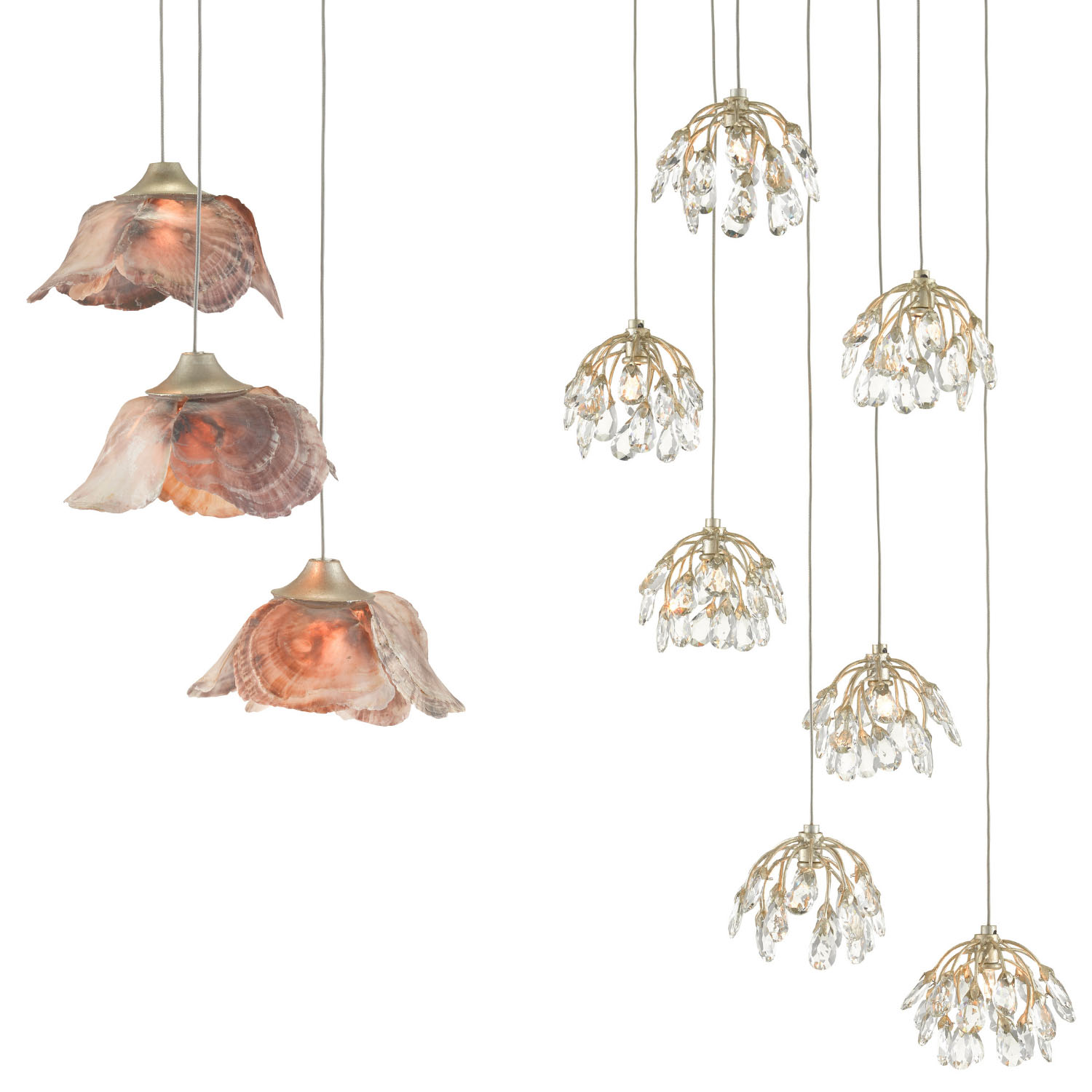 shade design options for the Currey and Company Multi Drop Pendant Collection