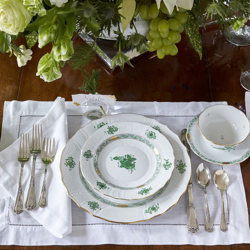 green and white holiday place setting with Herend's Chinese Bouquet china