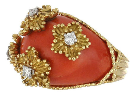 1970s Vintage Gold Coral Dome Ring with Flowers and Diamonds from Tenenbaum Jewelers in Houston