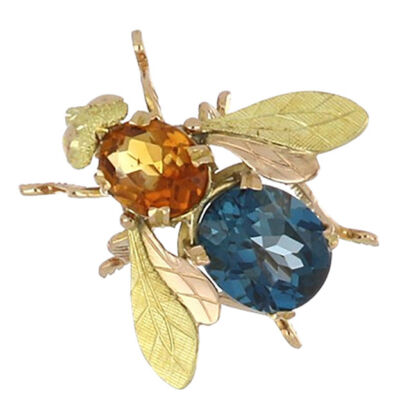 Estate 18K Gold Citrine and Blue Topaz Bee Pin from Tenenbaum Jewelers in Houston