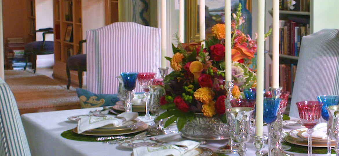 festive holiday dinner table setting from Replacements Ltd