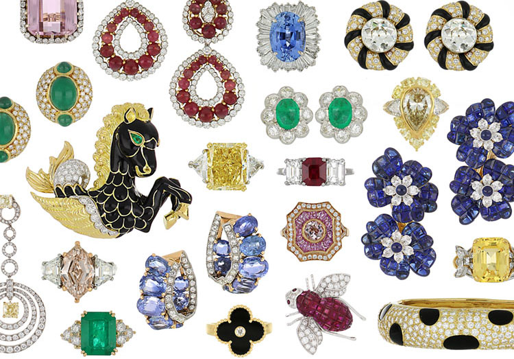 montage of jewelry from Tenenbaum Jewelers in Houston