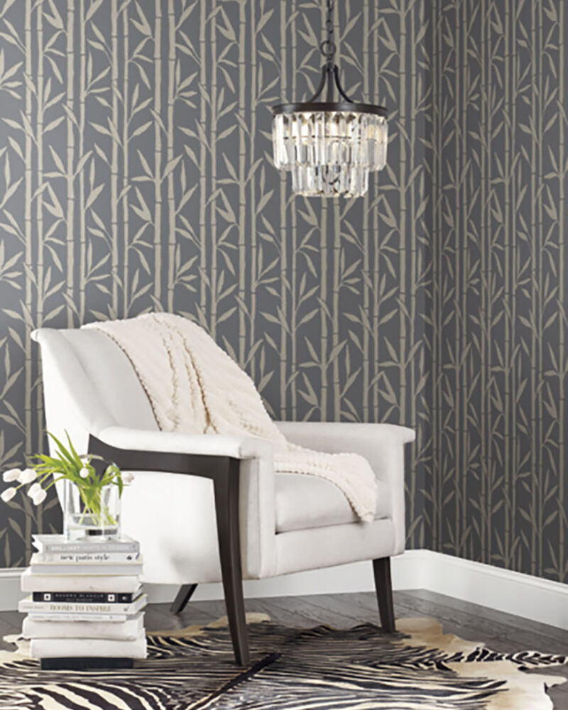bamboo motif wallpaper with gold on a gray background