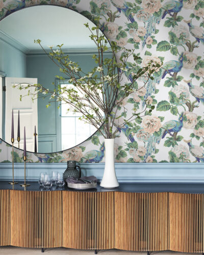 botanical wallpaper with birds from York Wallcoverings