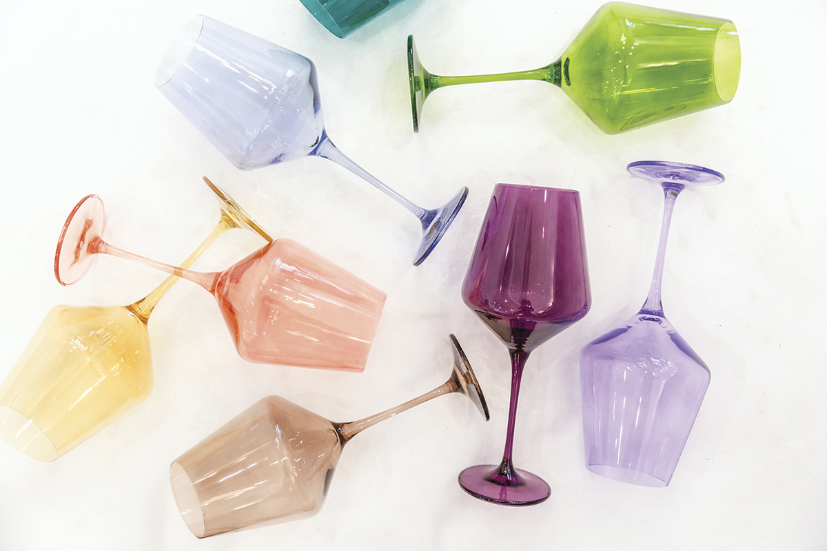handblown wine glasses in purple, blue, green, peach, brown and yellow from Estelle Colored Glass