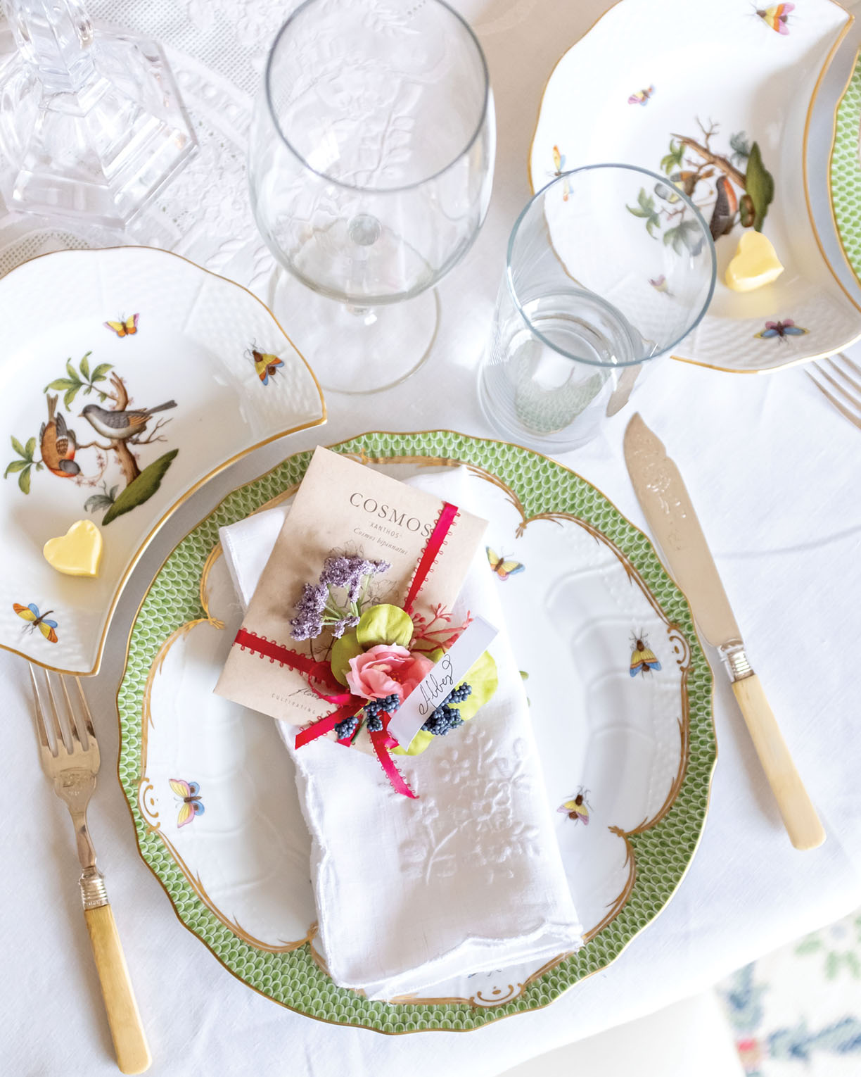 table setting for Galentine celebration styled by by Mary Spotswood