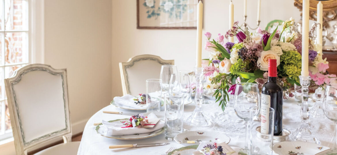 a light and airy dining room set for a Galentine's celebration in the home of Mary Spotswood in Frankin, Tennessee