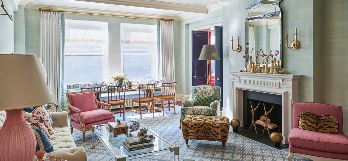 In the living/dining room, interior design by Phillip Thomas