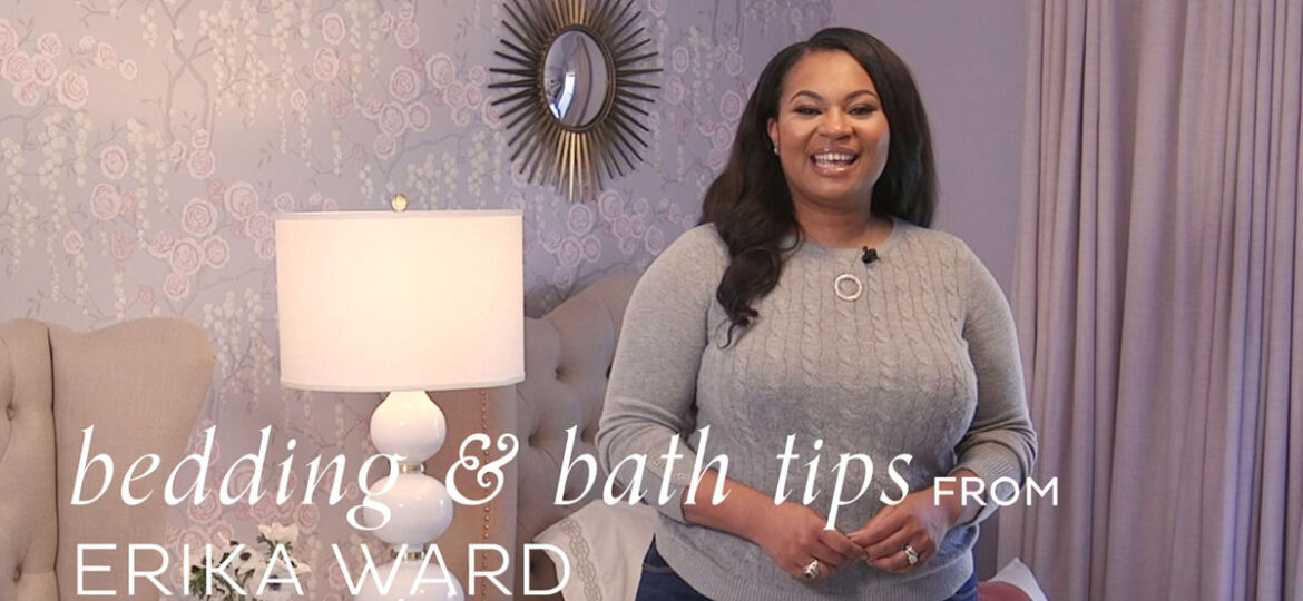 Interior Designer Erika Ward stands in her teen daughter's bedroom, which she recently redecorated for a more grown-up look using bedding and décor from Ballard Designs, and featured on Ballard Designs YouTube Channel