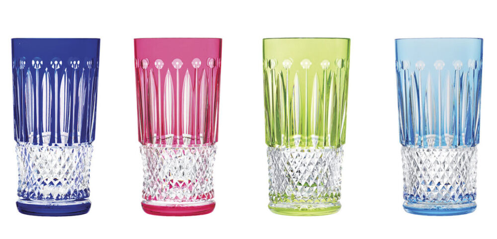 Colorful Home Decor and Accessories for 2021: set of 4 crystal drink glasses in blue, pink, green, and turquoise