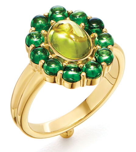 Colorful Home Decor and Accessories for 2021: color green. Green and gold ring