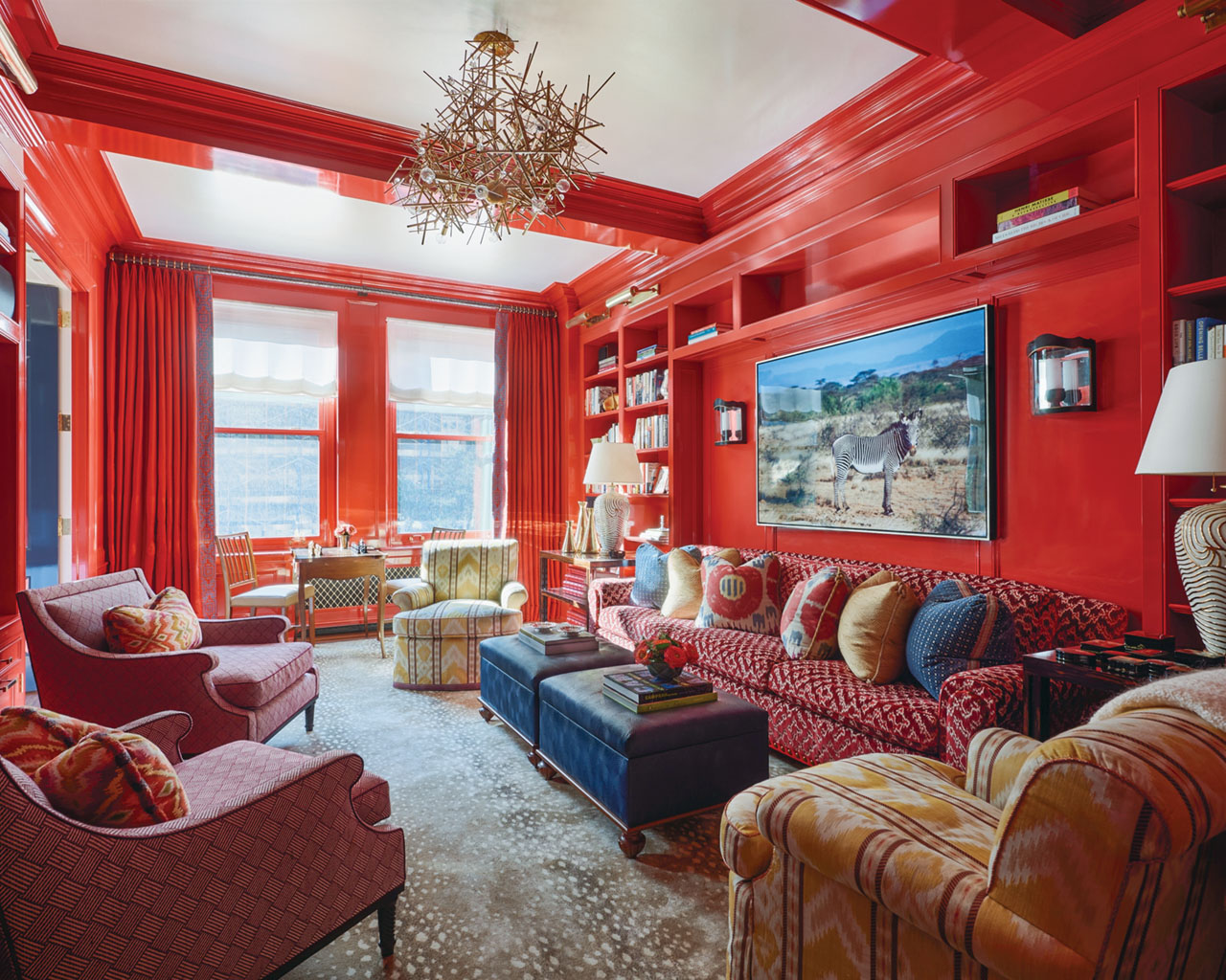 red library, interior design by Phillip Thomas