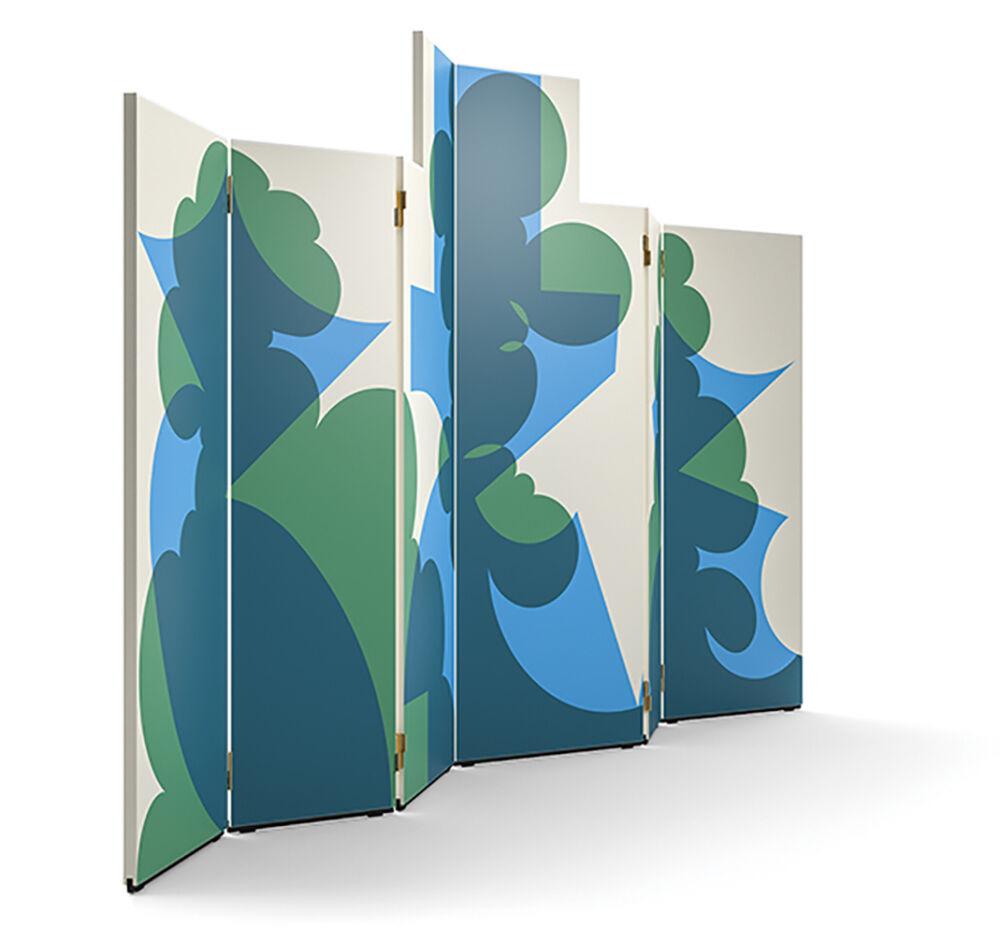 5 panel hinged screen with modern abstract design featuring large shapes of green and blue