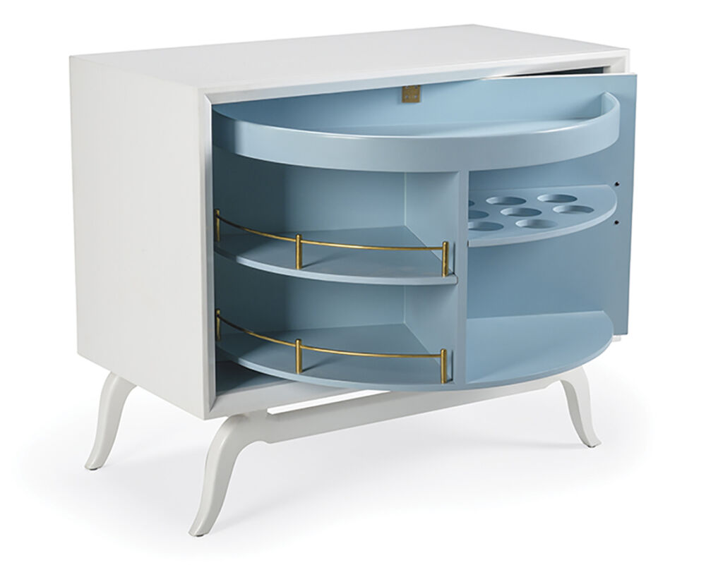 Colorful Home Decor and Accessories for 2021: color blue. White modern drink cabinet with blue interior