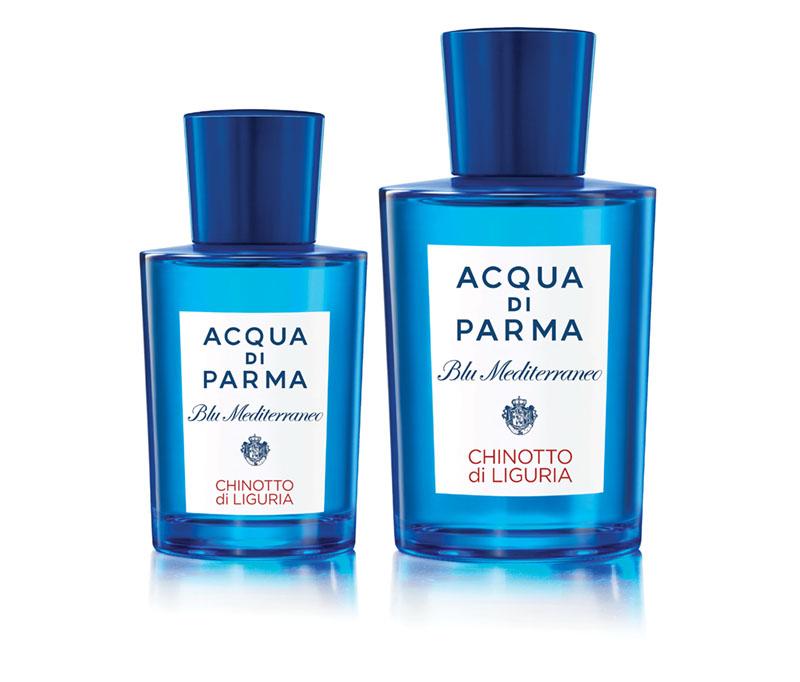 perfume in a blue bottle