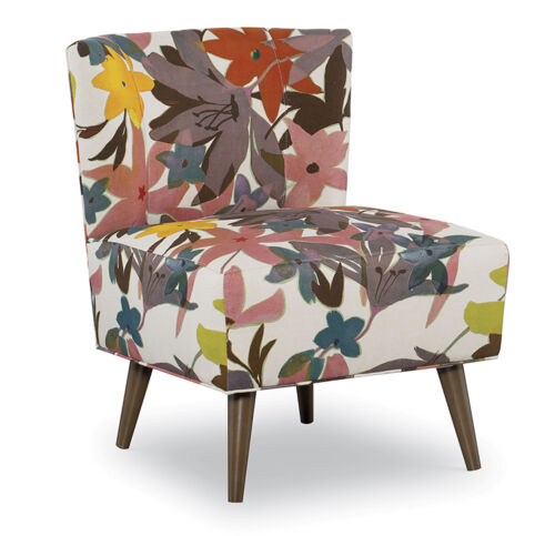 chair upholstered in a multicolor floral fabric