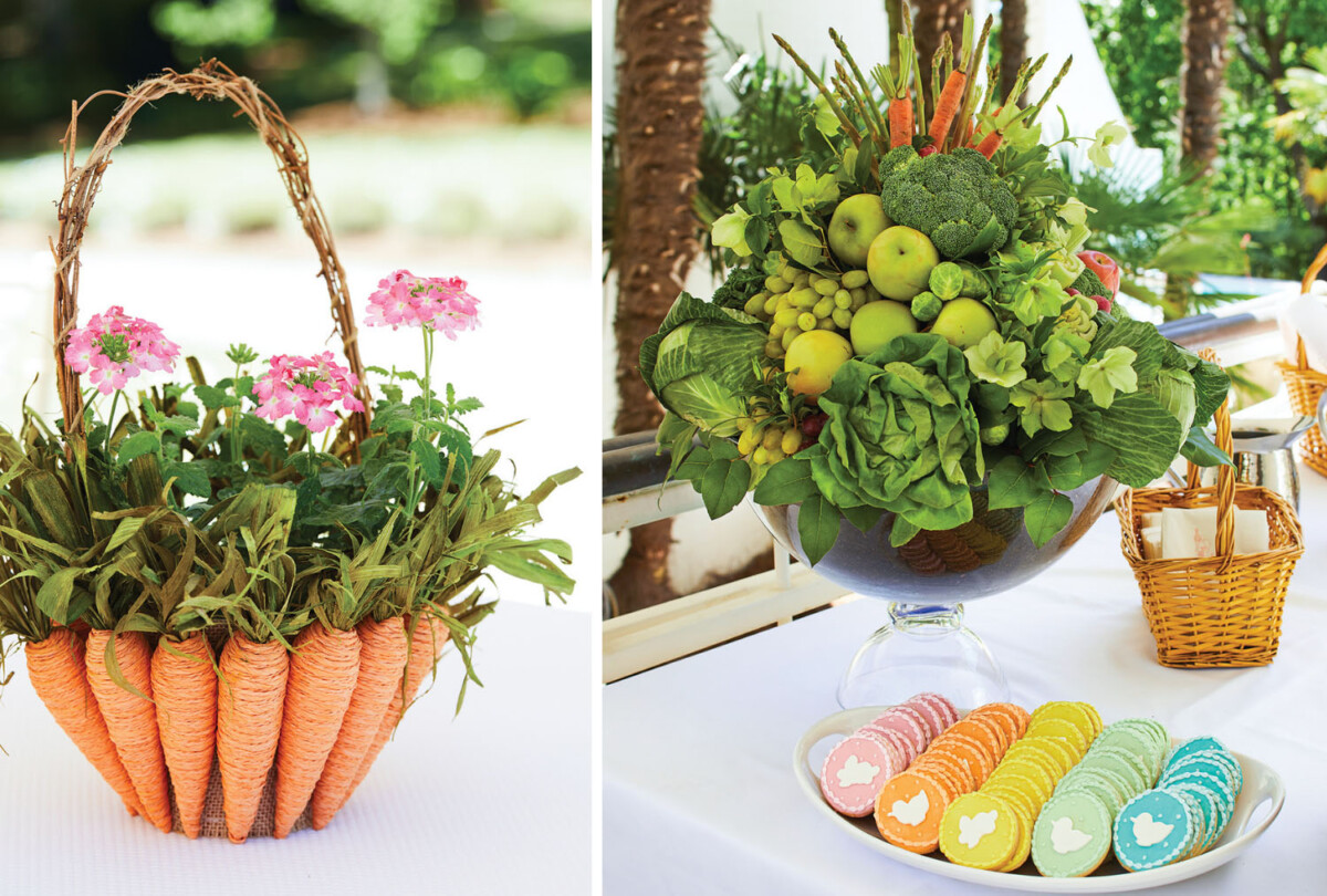 Easter table centerpieces and cookies