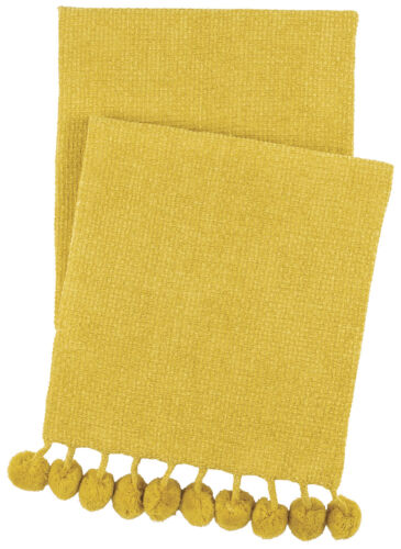 yellow throw blanket trimmed with chenille balls