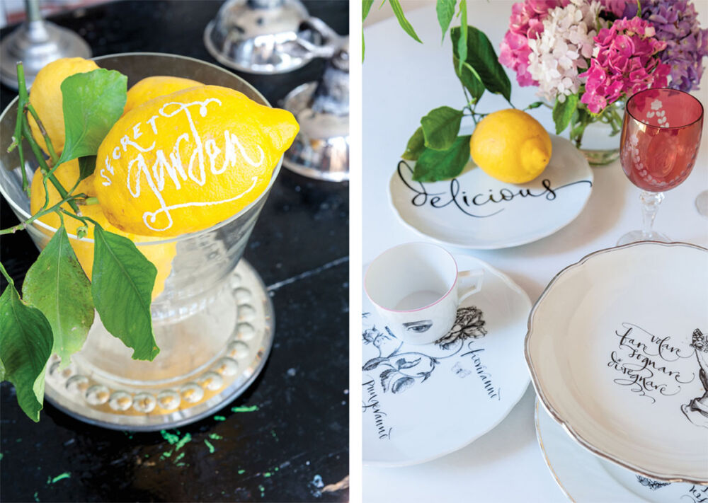 A lemon and dishes embellished with calligraphy