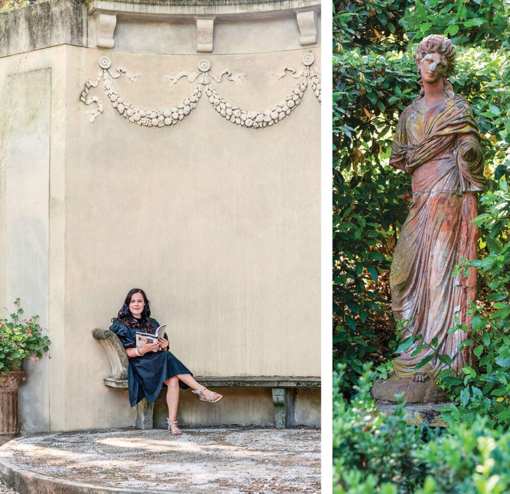 portrait of Betty Soldi in the Corsi garden. (Right) classical statue