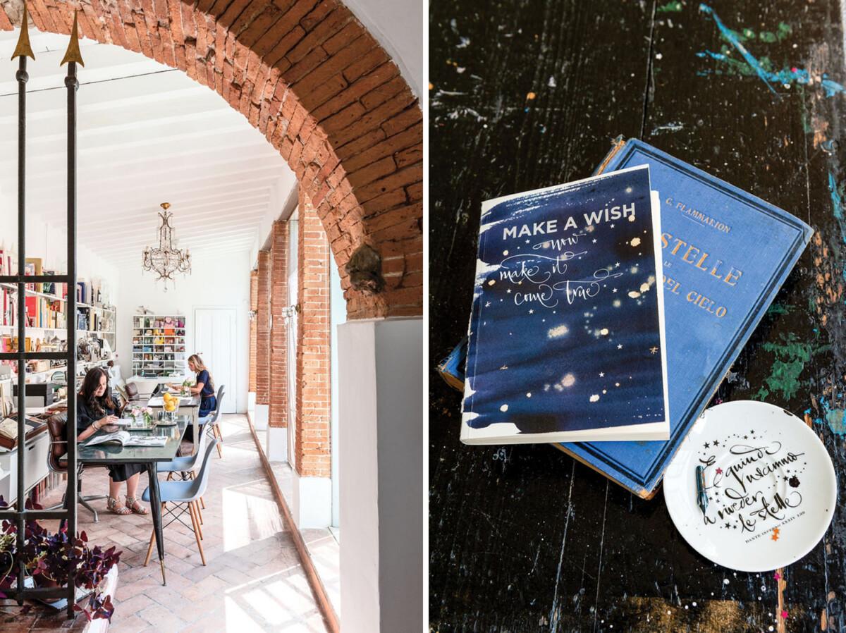 Betty Soldi's studio and books