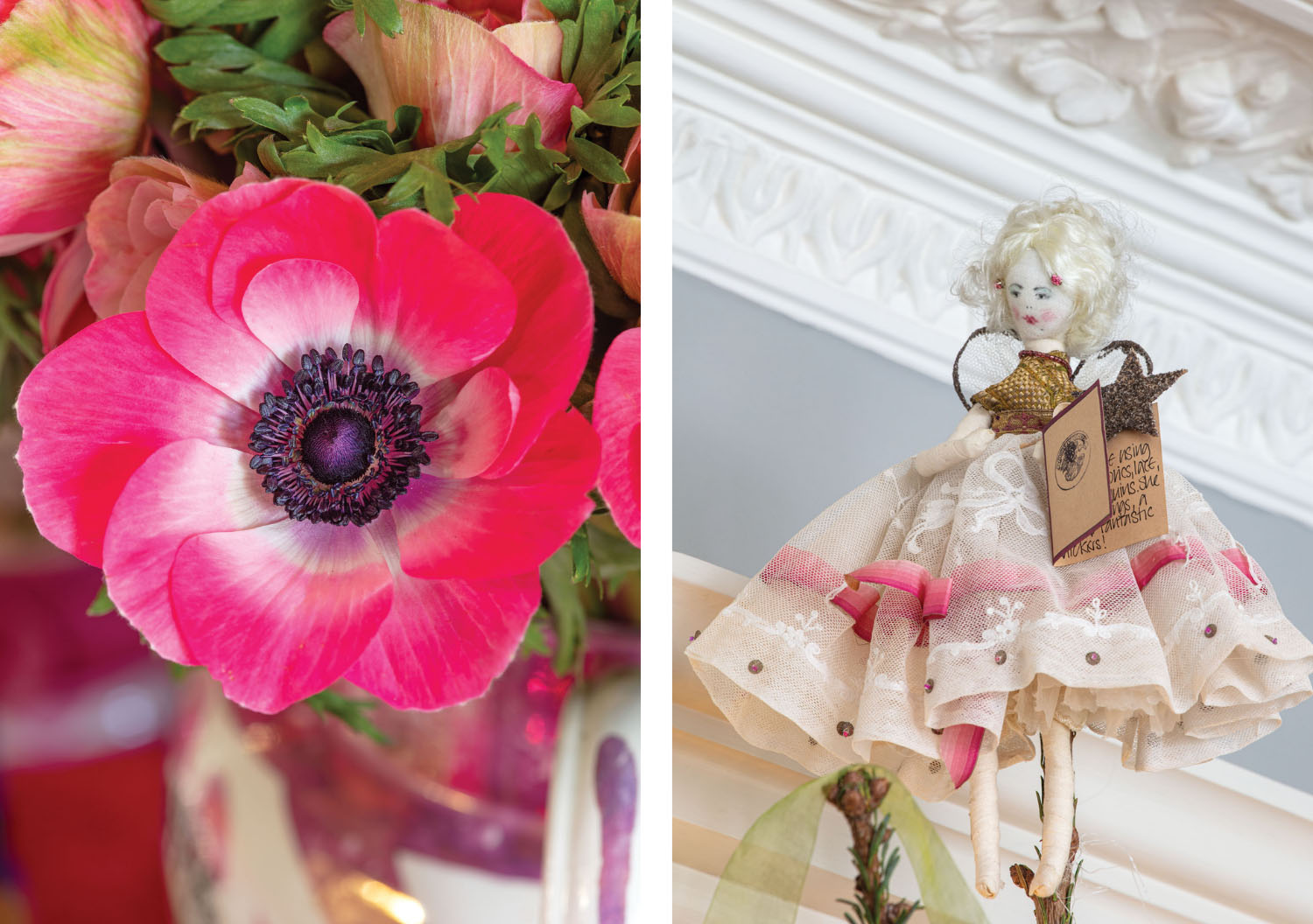 pink anemone; (right) Christmas tree topper
