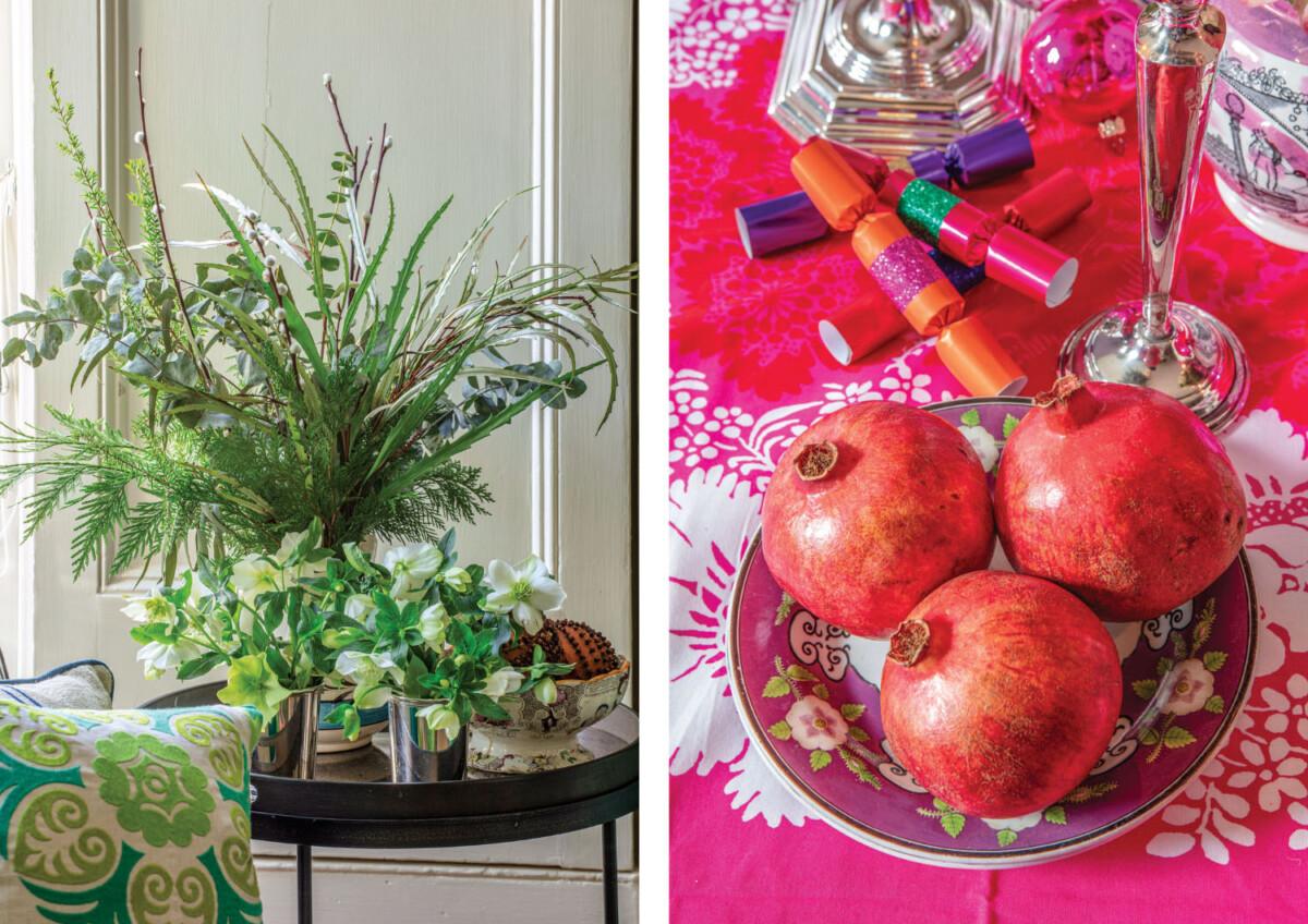 Christmas flower arrangements; (right) pomegranates