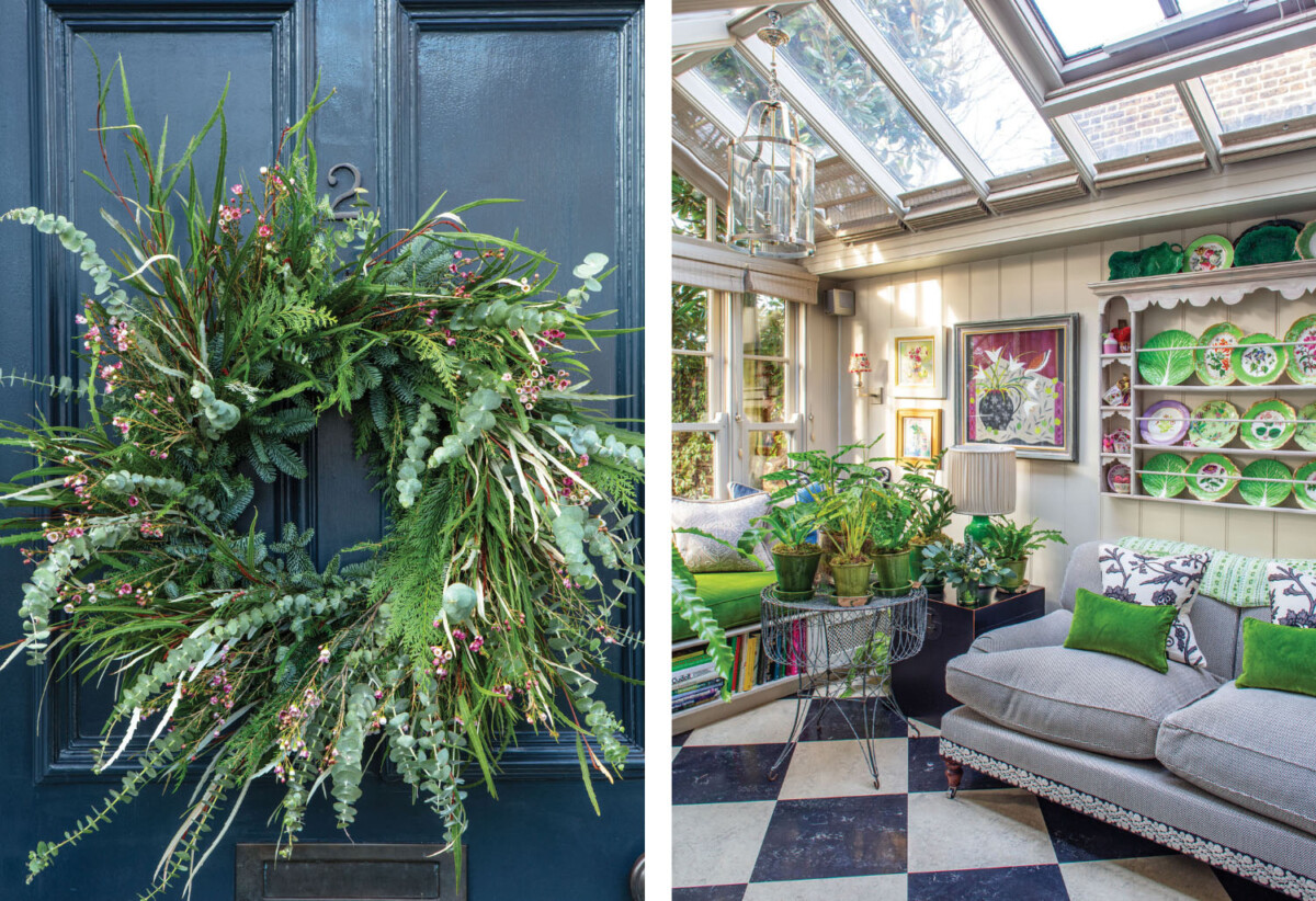 front door wreath; (right) sunroom with black-and-white checkerboard floors
